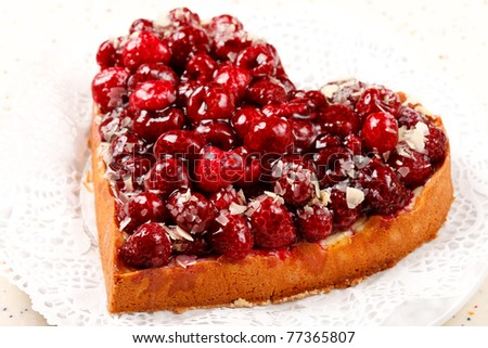 sweet cake in heart shape
