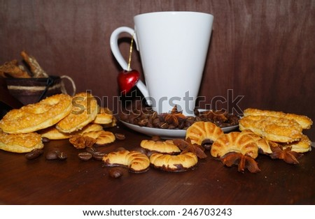 Sweet cakes  spices and coffee cup and coffee beans