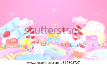 Sweet candy land with cartoon houses. 3d rendering picture.