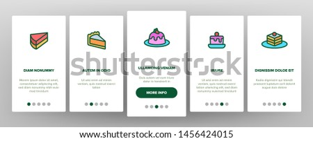 Sweet Cheesecakes, Bakery Onboarding Mobile App Page Screen. Pastry. Birthday Party Cakes, Biscuits, Pies. Dessert Cookies. Confectionery Illustrations