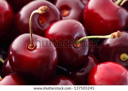 Sweet Cherries As A Background/ Full Frame