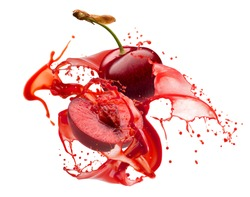 sweet cherries in juice splash isolated on a white background
