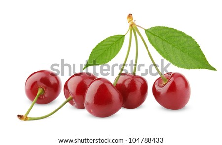 Sweet cherry berry fruit isolated on white background