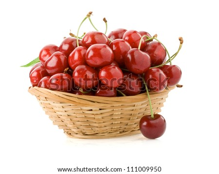 sweet cherry in  bowl isolated on white background