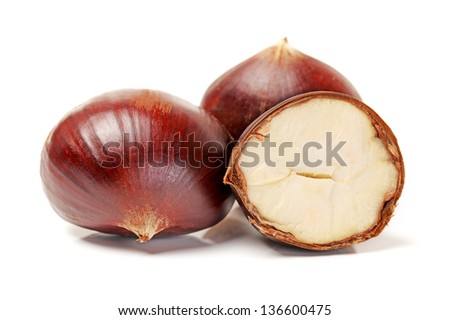 Sweet chestnut on white background