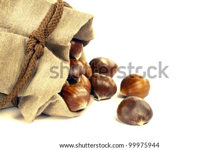 Sweet chestnuts spilled out from the canvas bag - stock photo