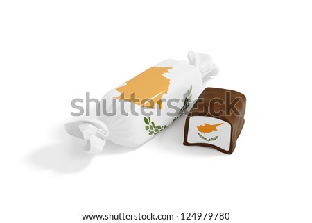 sweet chocolate candy with flag of cyprus