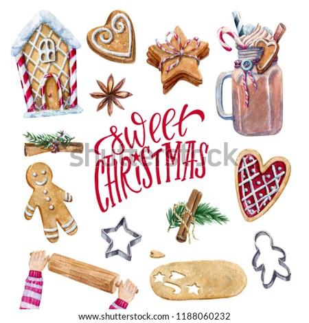 Sweet christmas set of watercolor elements