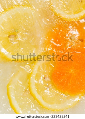 sweet cold ice frozen ripe bright lemon and orange with seeds #223425241