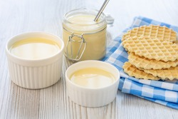 Sweet Condensed or evaporated milk and waffles on a table. A delicious Breakfast.