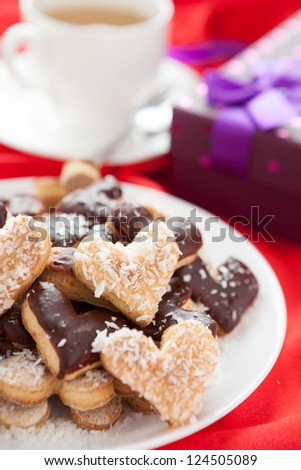 sweet cookies for with coconut and chocolate Valentine's Day, close up
