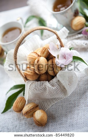 Sweet cookies in basket