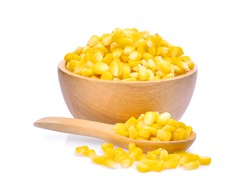 sweet corn in wooden bowl and spoon isolated on white background