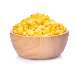 sweet corn in wooden bowl isolated on white background