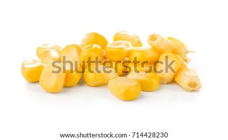 Sweet corn kernels on white background