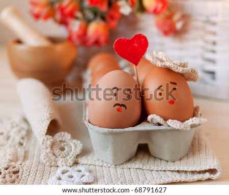 Sweet couple egg staying close to each other with love