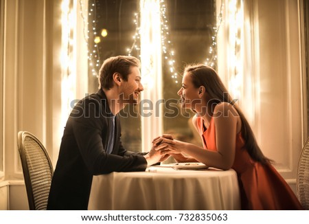 Sweet couple having a romantic dinner #732835063