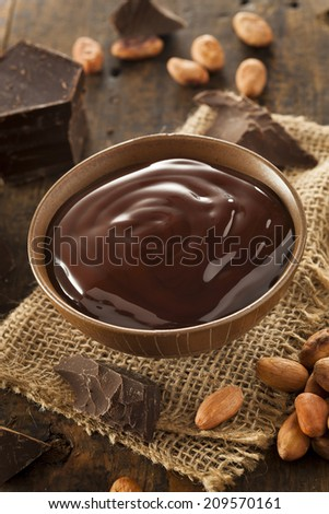 Sweet Dark Chocolate Sauce in a Bowl
