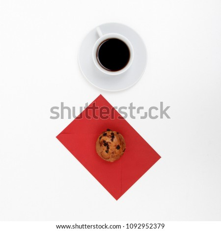 Sweet Dessert cookies in the shape of a heart with coffee on white background. Good morning, breakfast. Spring. Flat lay. Minimalism. Minimalism Stock Photography