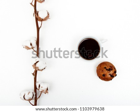 Sweet Dessert cookies with coffee on white background. Good morning, breakfast. Spring. Flat lay. Minimalism. Minimalism Stock Photography