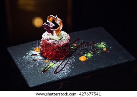 Sweet dessert on a black background