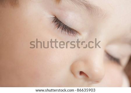 Sweet dream. Little boy sleeping under blanket.