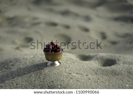Sweet dried date palm fruits or kurma ramadan (ramazan) food #1100990066