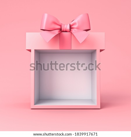 Sweet exhibition booth blank gift box stand with pink pastel color ribbon bow isolated on pink background minimal conceptual 3D rendering Stockfoto ©