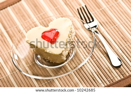 stock photo : sweet: fancy cake with love simbol - heart