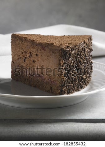 sweet food dessert, chocolate cake, on a shelf of marble