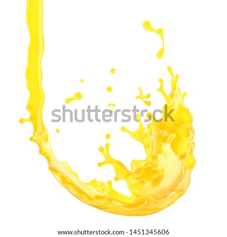 Sweet fresh orange fruit juice smoothie 3D splash. Fruits juice splashing - orange, tangerine, lemon, citrus, pineapple, peach, mango, banana juice in glass form isolated. Healthy juice drink design