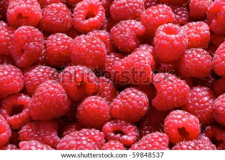 sweet fresh raspberries closeup