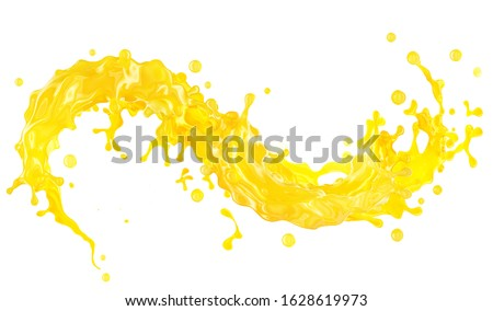Sweet fresh yellow fruit juice smoothie 3D splash. Fruits juice splashing: orange, mango, lemon, citrus, pineapple, peach, banana, tangerine juice in wave form isolated. Healthy juice drink ad design