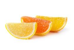 Sweet fruit lemon marmalade isolated on white background