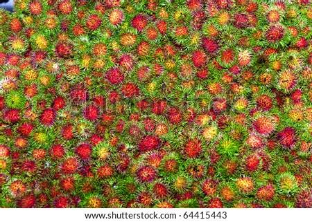 sweet fruits Rambutan similar to Lychee at the market