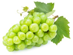 Sweet grape with leaves isolated on white, Shine Muscat Grape isolated on white background With clipping path.