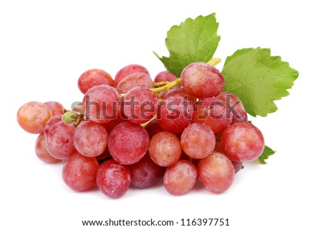 sweet grapes with drops water on white #116397751