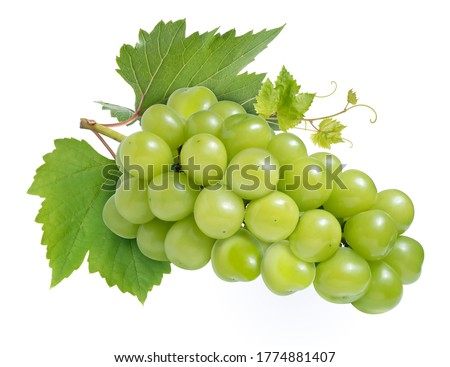 Photo of  Sweet Green grape with leaves isolated on white, Shine Muscat Grape isolated on white background With clipping path,