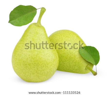 Sweet green yellow pears with leaves isolated on white