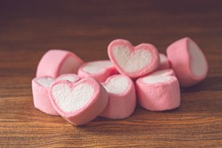 sweet heart shape of marshmallows decoration for love and valentine day concept.
