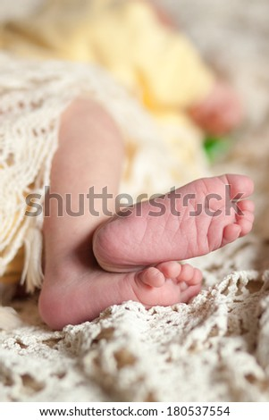 sweet heels of little newborn, selective focus
