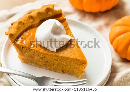 Sweet Homemade Thanksgiving Pumpkin Pie Ready to Eat #1185116455