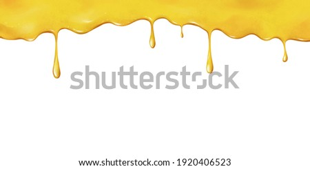 Sweet honey on a white background. Colorful background with delicious honey flowing from the edge. Dripping honey element isolated on white background. Drawn illustration for cafe, shop, bakery menu