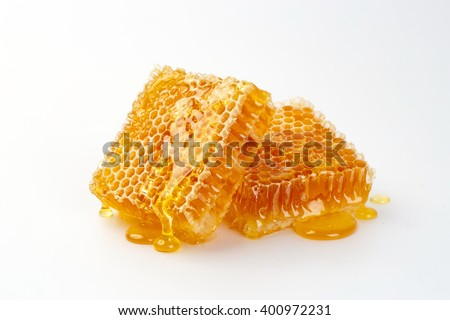 Sweet honeycomb isolated on white background, honey products by organic natural ingredients concept