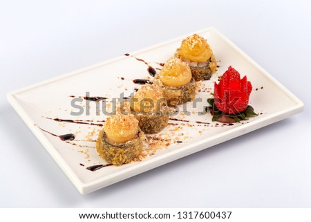 sweet japanese sushi roll isolated on white background - picture