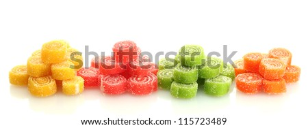 sweet jelly candies isolated on white