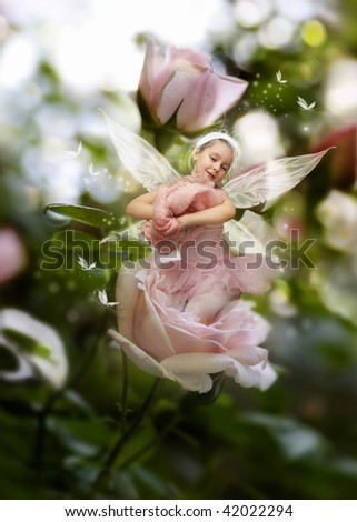 Sweet little fairy in the garden