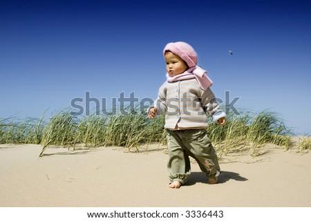sweet little girl at the beach