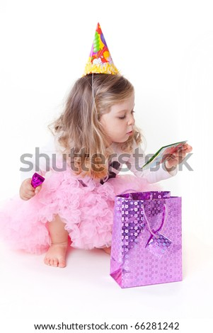 Sweet Little Girl Reading Birthday Greeting Card Stock