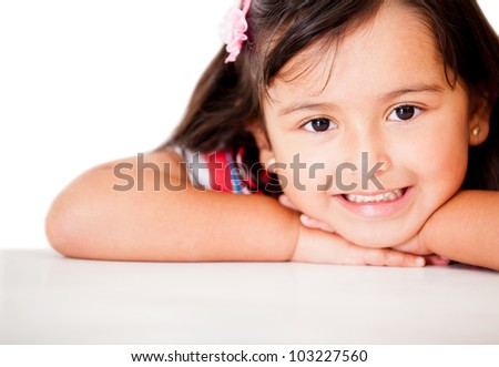 Sweet little girl smiling - isolated over a white background